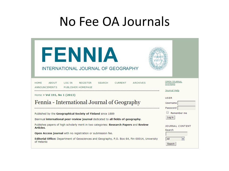 No Fee OA Journals