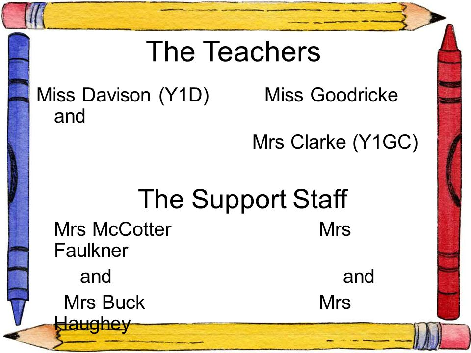 The Teachers Miss Davison (Y1D) Miss Goodricke and Mrs Clarke (Y1GC) The Support Staff Mrs McCotterMrs Faulkner and and Mrs BuckMrs Haughey