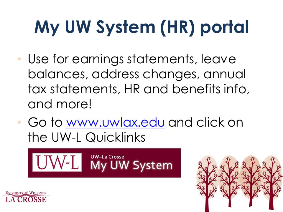 My UW System (HR) portal Use for earnings statements, leave balances, address changes, annual tax statements, HR and benefits info, and more! Go to ww
