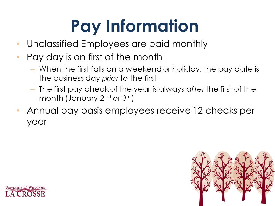Pay Dates Pay dates for 2013-14 Fiscal year – August 1 st, 2013 – August 30 th – October 1 st – November 1 st – November 29 th – January 2 nd – January 31 st – February 28 th – April 1 st – May 1 st – May 30 th – July 1 st, 2014