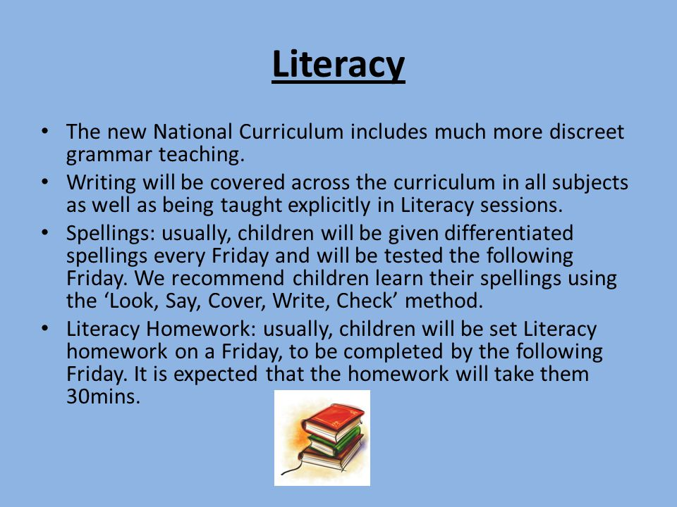 Literacy The new National Curriculum includes much more discreet grammar teaching. Writing will be covered across the curriculum in all subjects as we