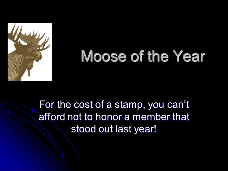 Moose of the Year For the cost of a stamp, you can't afford not to honor a member that stood out last year!