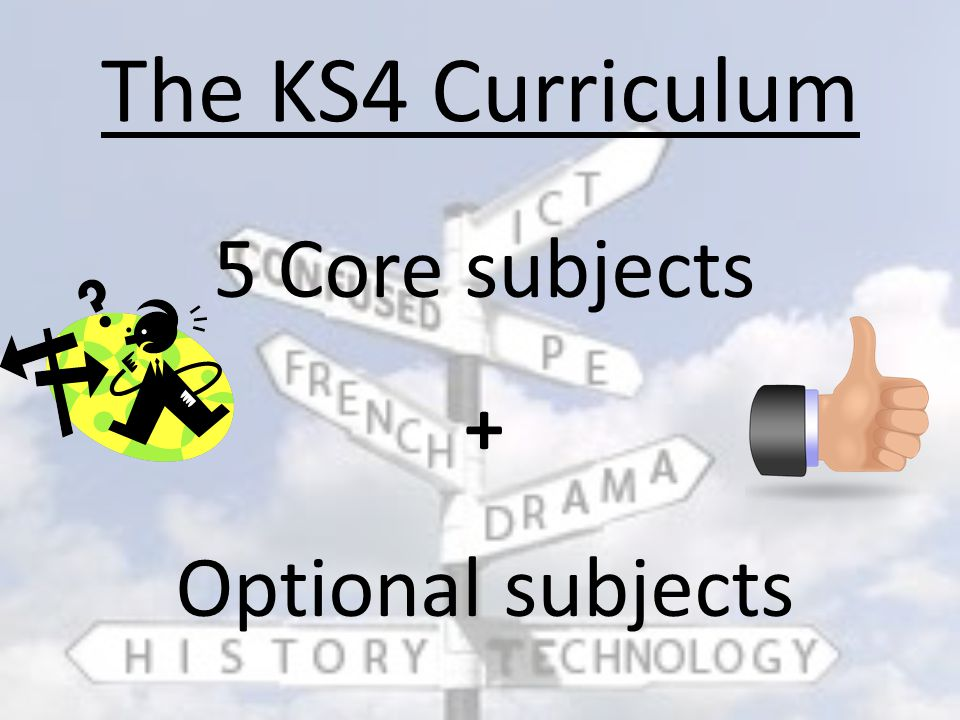 5 Core subjects + Optional subjects The KS4 Curriculum