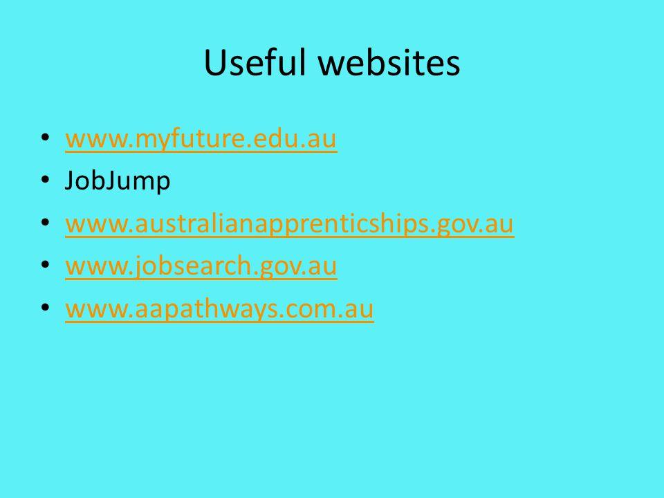 Useful websites www.myfuture.edu.au JobJump www.australianapprenticships.gov.au www.jobsearch.gov.au www.aapathways.com.au
