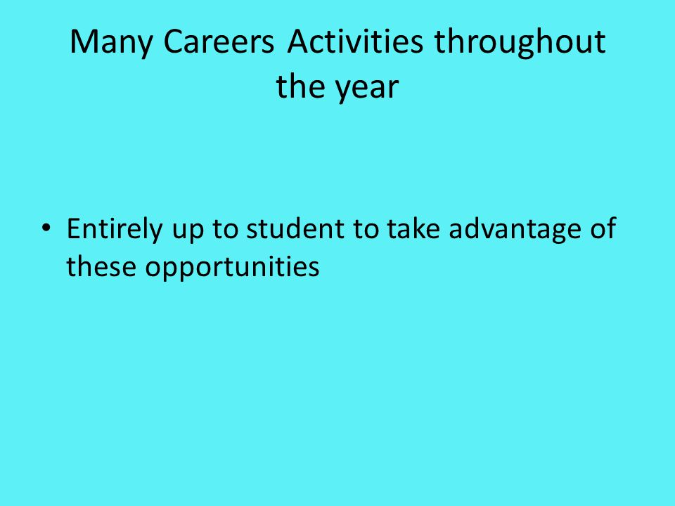 Careers Expo All Year 12 will be attending for one hour Wednesday 15 th May.