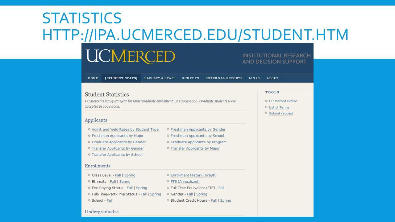 STATISTICS HTTP://IPA.UCMERCED.EDU/STUDENT.HTM