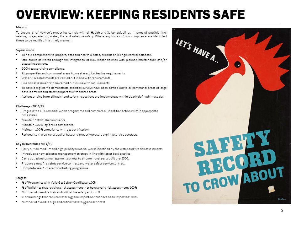 OVERVIEW: KEEPING RESIDENTS SAFE Mission To ensure all of Newlon's properties comply with all Health and Safety guidelines in terms of possible risks