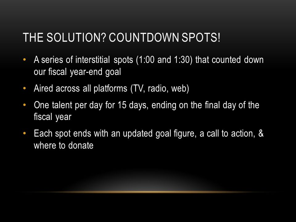 THE SOLUTION. COUNTDOWN SPOTS.