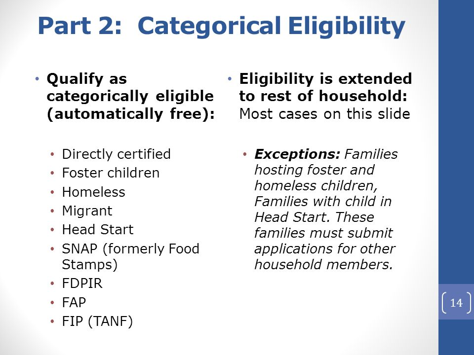 Part 2: Categorical Eligibility Qualify as categorically eligible (automatically free): Directly certified Foster children Homeless Migrant Head Start SNAP (formerly Food Stamps) FDPIR FAP FIP (TANF) Eligibility is extended to rest of household: Most cases on this slide Exceptions: Families hosting foster and homeless children, Families with child in Head Start.