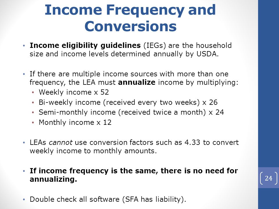 Income Frequency and Conversions Income eligibility guidelines (IEGs) are the household size and income levels determined annually by USDA.