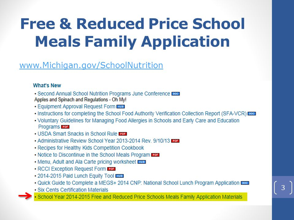 Free & Reduced Price School Meals Family Application www.Michigan.gov/SchoolNutrition 3