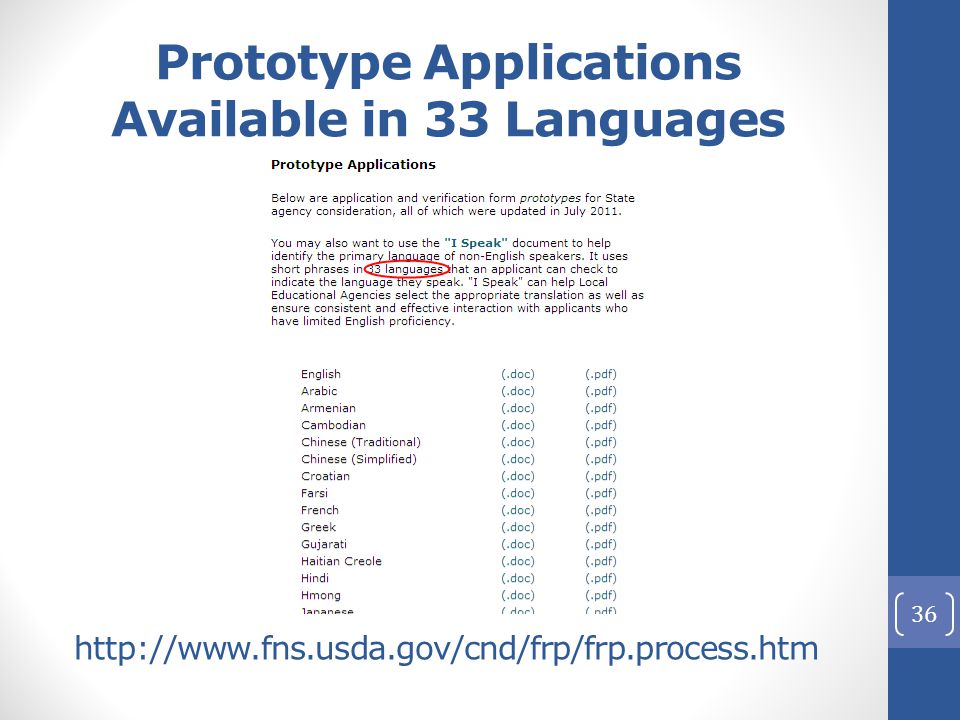 36 http://www.fns.usda.gov/cnd/frp/frp.process.htm Prototype Applications Available in 33 Languages
