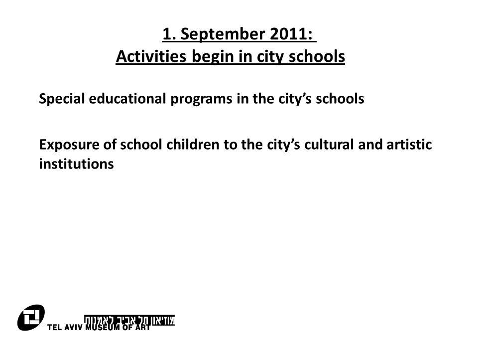 1. September 2011: Activities begin in city schools Special educational programs in the city's schools Exposure of school children to the city's cultu