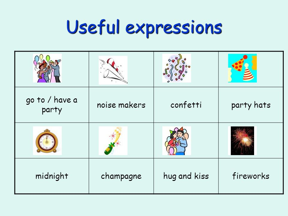 Useful expressions go to / have a party noise makersconfettiparty hats midnightchampagnehug and kissfireworks