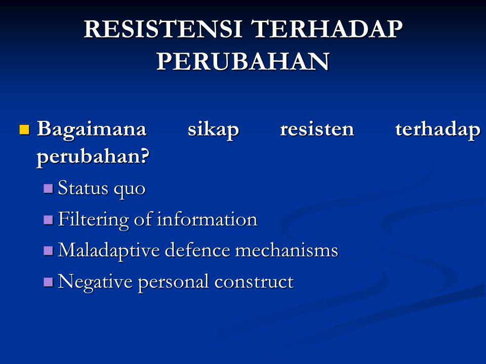 RESISTENSI TERHADAP PERUBAHAN Bagaimana sikap resisten terhadap perubahan.