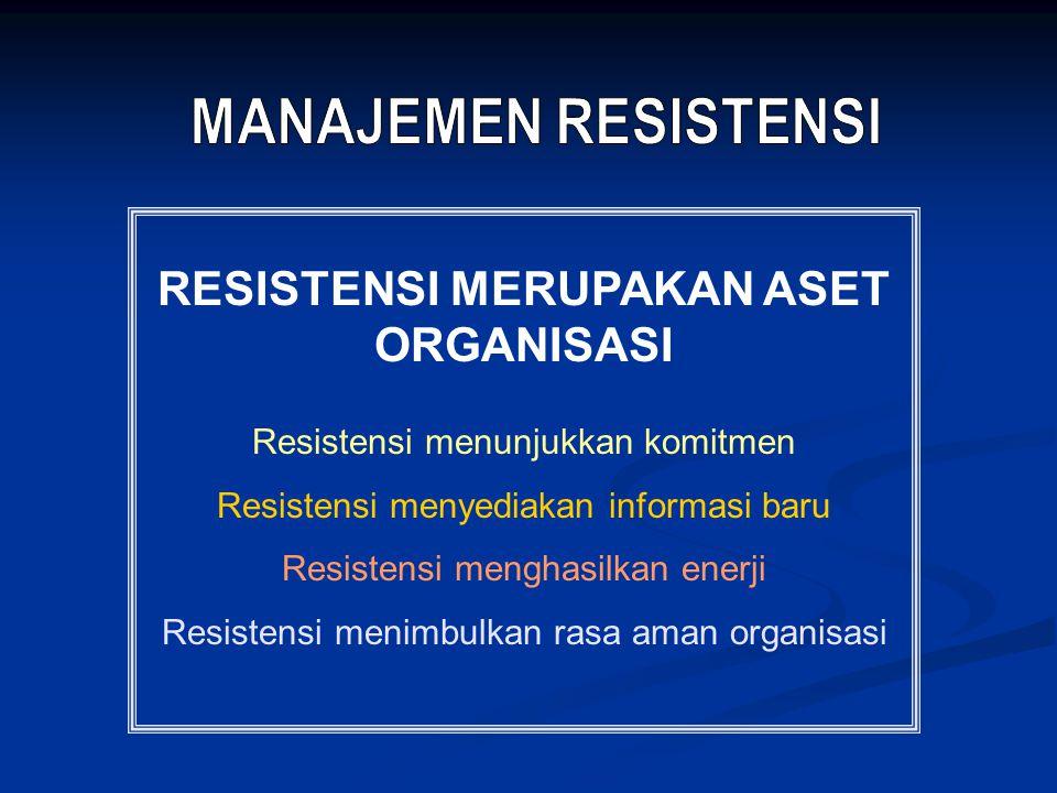 RESISTENSI MERUPAKAN ASET ORGANISASI Resistensi menunjukkan komitmen Resistensi menyediakan informasi baru Resistensi menghasilkan enerji Resistensi menimbulkan rasa aman organisasi