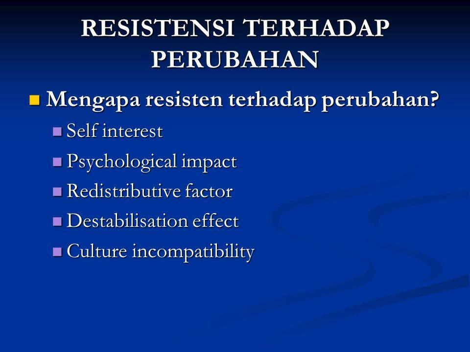 RESISTENSI TERHADAP PERUBAHAN Mengapa resisten terhadap perubahan.