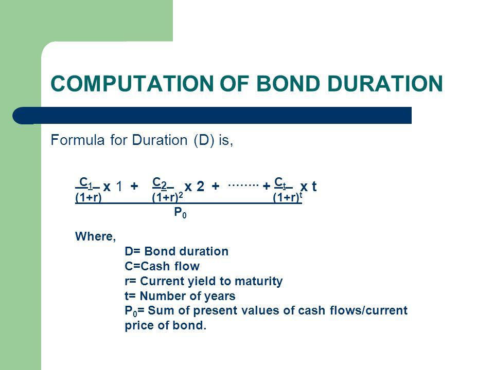 COMPUTATION OF BOND DURATION Formula for Duration (D) is, C 1 x 1 + C 2 x 2 + …….. + C t x t (1+r) (1+r) 2 (1+r) t P 0 Where, D= Bond duration C=Cash