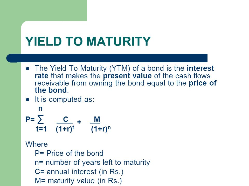 YIELD TO MATURITY A 9% Rs.1,000 par value bond, maturing after 8 years.