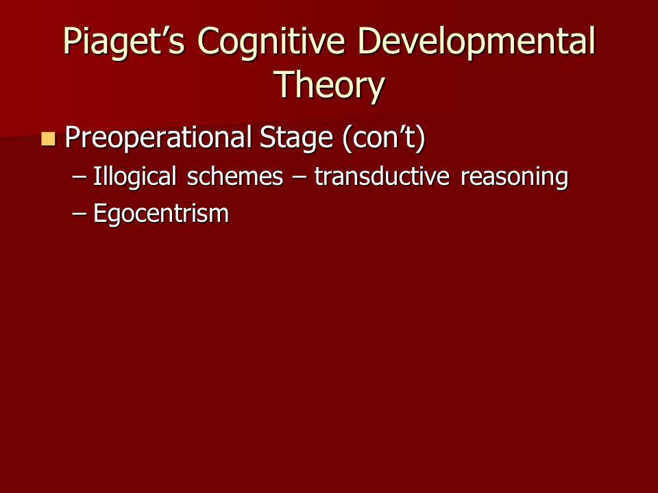 Piaget's Cognitive Developmental Theory Preoperational Stage (con't) Preoperational Stage (con't) –Illogical schemes – transductive reasoning –Egocentrism