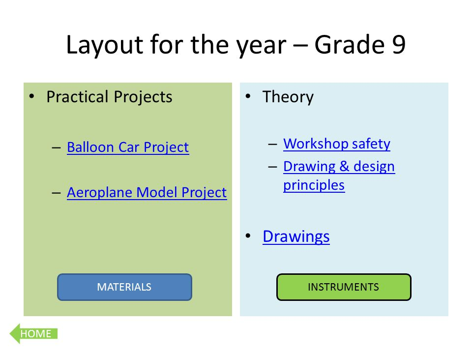 HOME Layout for the year – Grade 9 Practical Projects – Balloon Car Project Balloon Car Project – Aeroplane Model Project Aeroplane Model Project Theory – Workshop safety Workshop safety – Drawing & design principles Drawing & design principles Drawings MATERIALSINSTRUMENTS