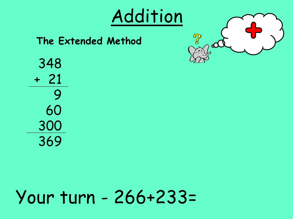 Addition The Extended Method Your turn =