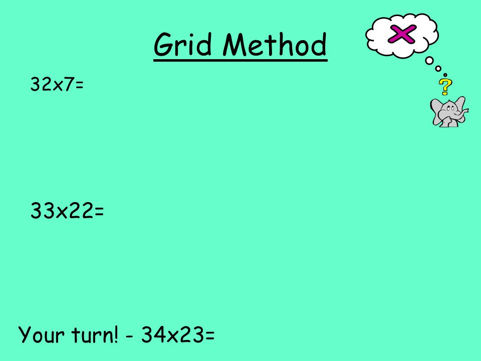 Grid Method 32x7= 33x22= Your turn! - 34x23=
