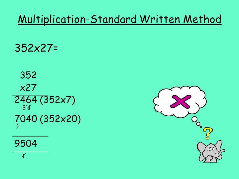 Multiplication-Standard Written Method 352x27= 352 x (352x7) 7040 (352x20)