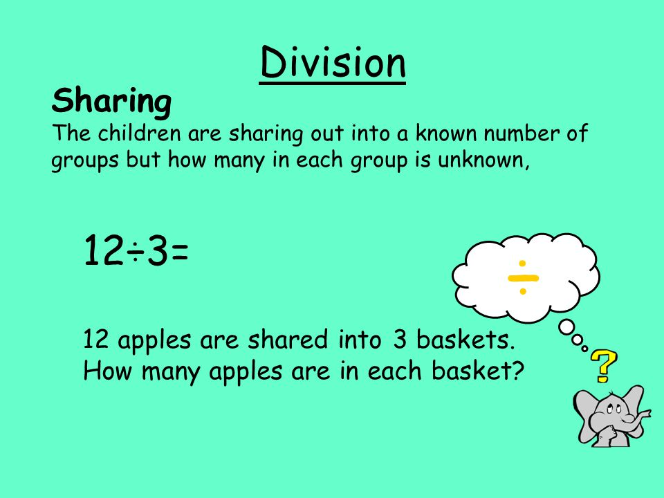 Division Sharing The children are sharing out into a known number of groups but how many in each group is unknown, 12÷3= 12 apples are shared into 3 baskets.