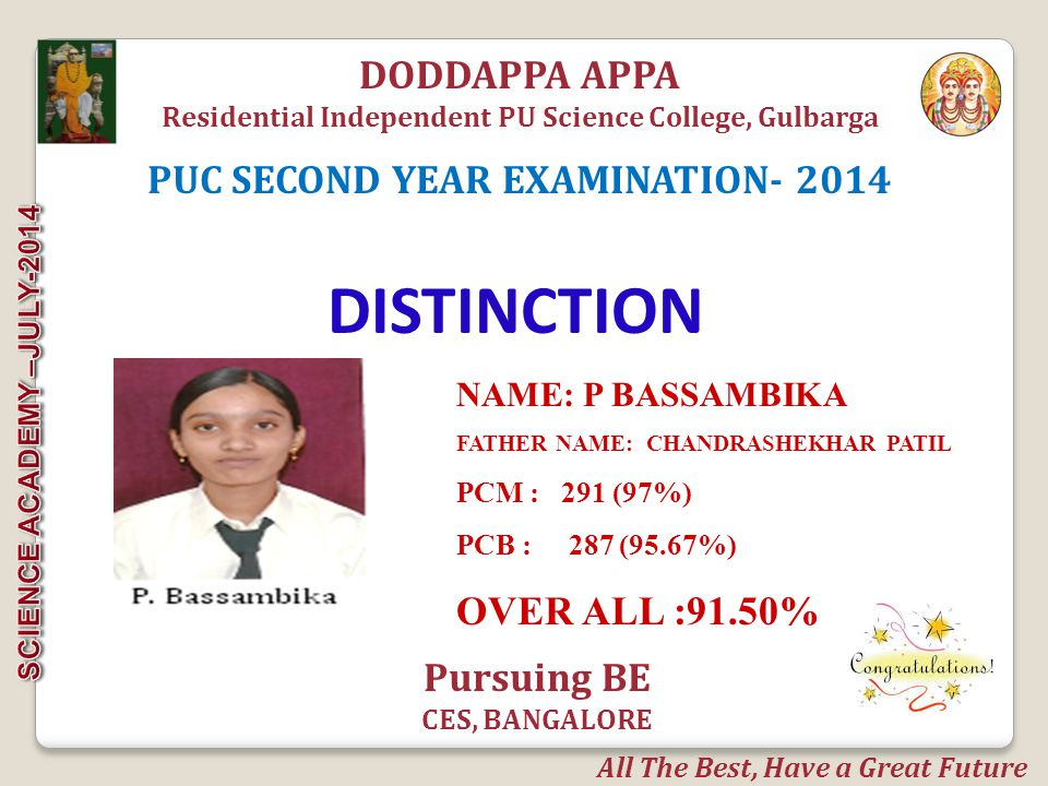 NAME: AMAR M FATHER NAME: MALLIKARJUN OVER ALL : 85.00% DODDAPPA APPA Residential Independent PU Science College, Gulbarga DISTINCTION PUC SECOND YEAR EXAMINATION- 2014 All The Best, Have a Great Future