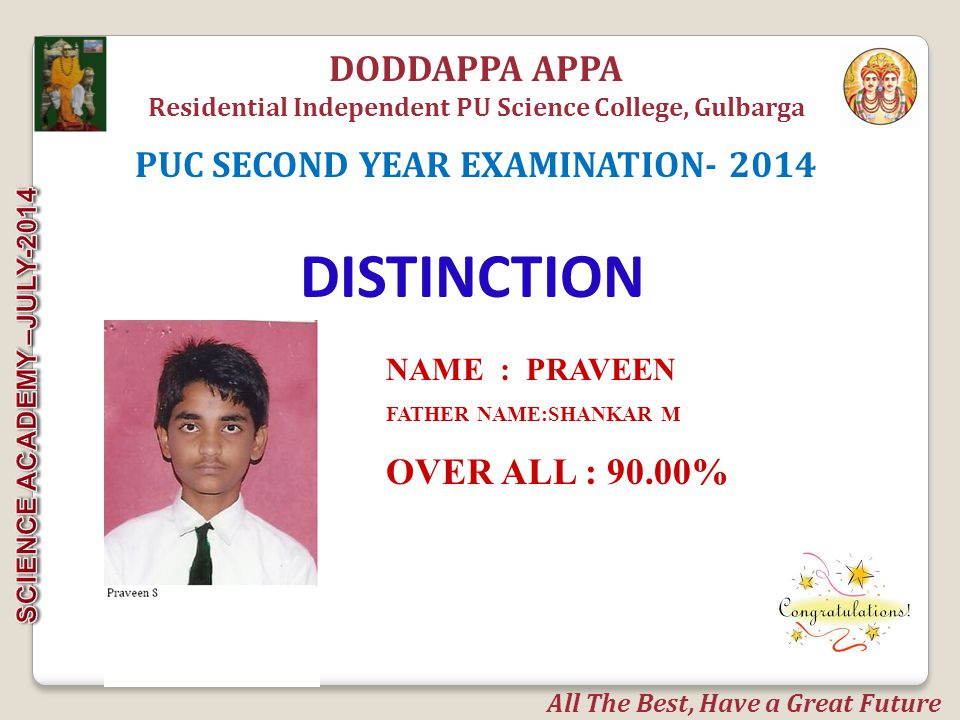 NAME:SANJAYKUMAR J FATHER NAME: BAJARANG OVER ALL : 89.50% DODDAPPA APPA Residential Independent PU Science College, Gulbarga DISTINCTION PUC SECOND YEAR EXAMINATION- 2014 All The Best, Have a Great Future