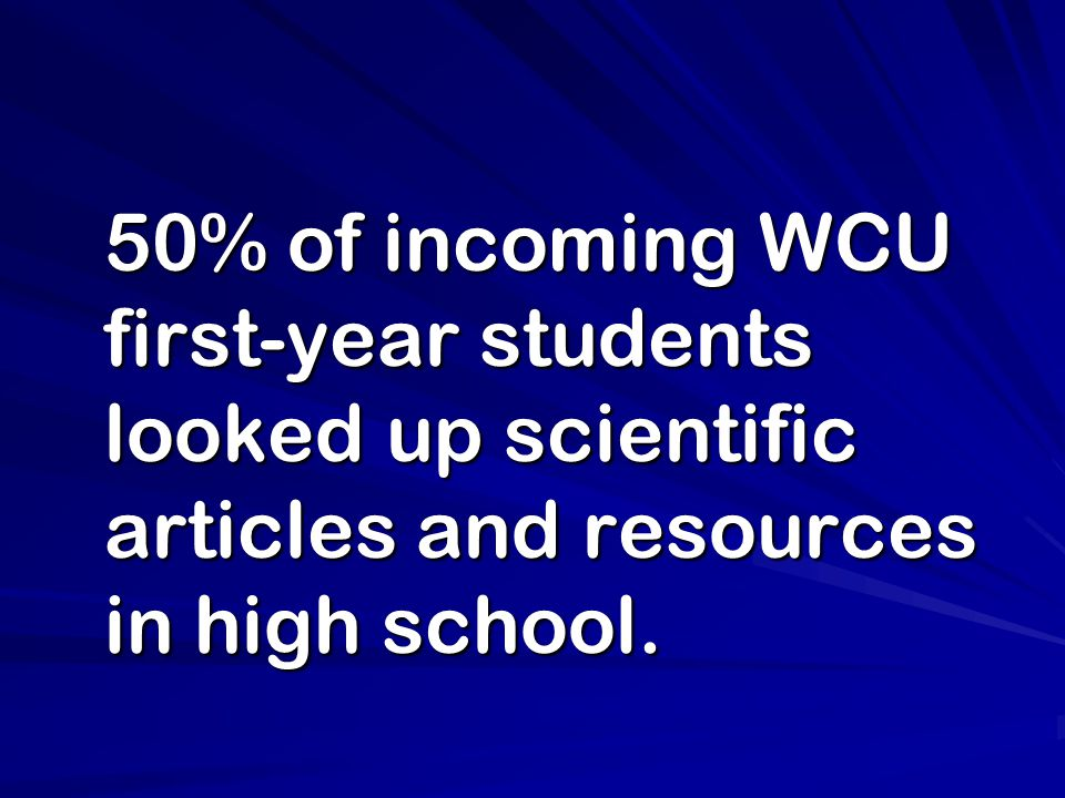 50% of incoming WCU first-year students looked up scientific articles and resources in high school. 50% of incoming WCU first-year students looked up