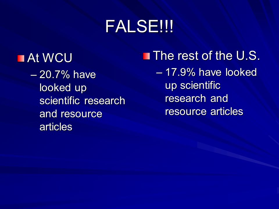 FALSE!!! At WCU –20.7% have looked up scientific research and resource articles The rest of the U.S. –17.9% have looked up scientific research and res
