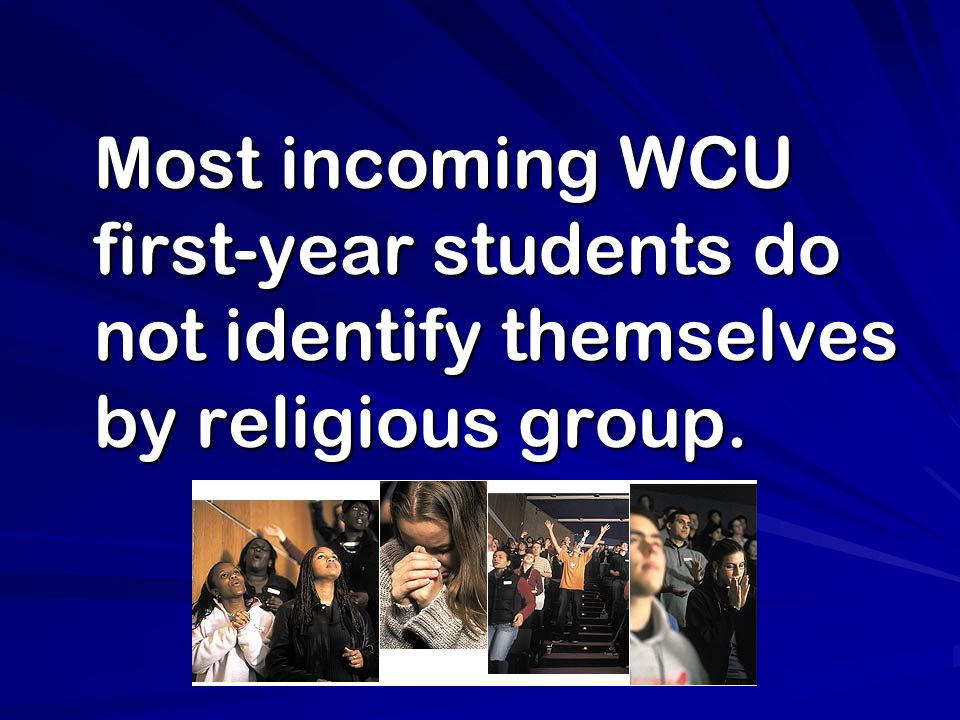 Most incoming WCU first-year students do not identify themselves by religious group.