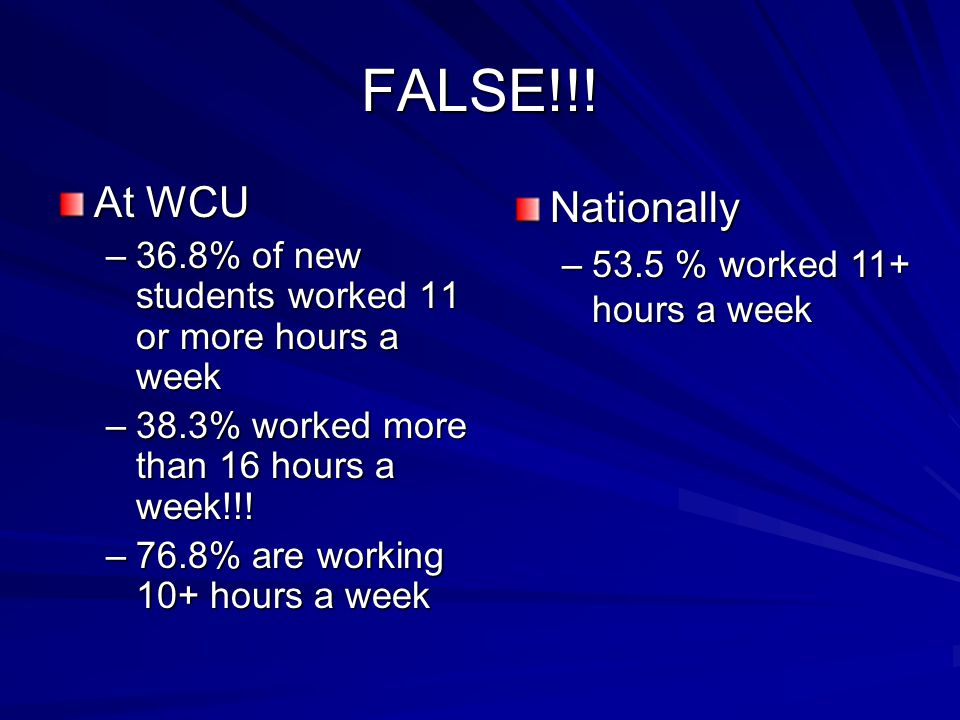 FALSE!!! At WCU –36.8% of new students worked 11 or more hours a week –38.3% worked more than 16 hours a week!!! –76.8% are working 10+ hours a week N