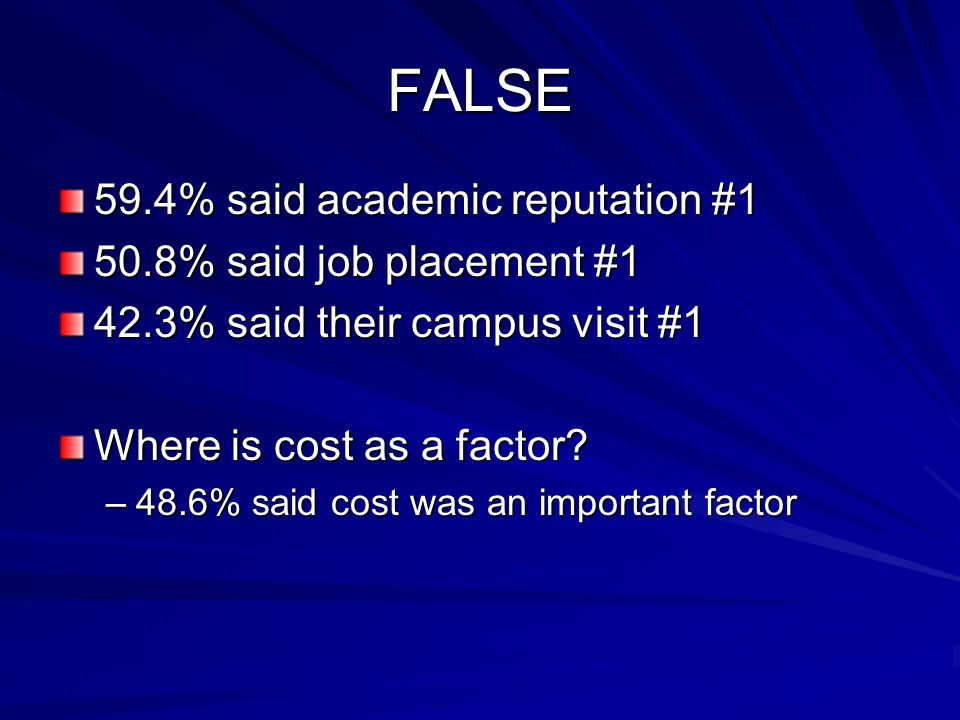 FALSE 59.4% said academic reputation #1 50.8% said job placement #1 42.3% said their campus visit #1 Where is cost as a factor.
