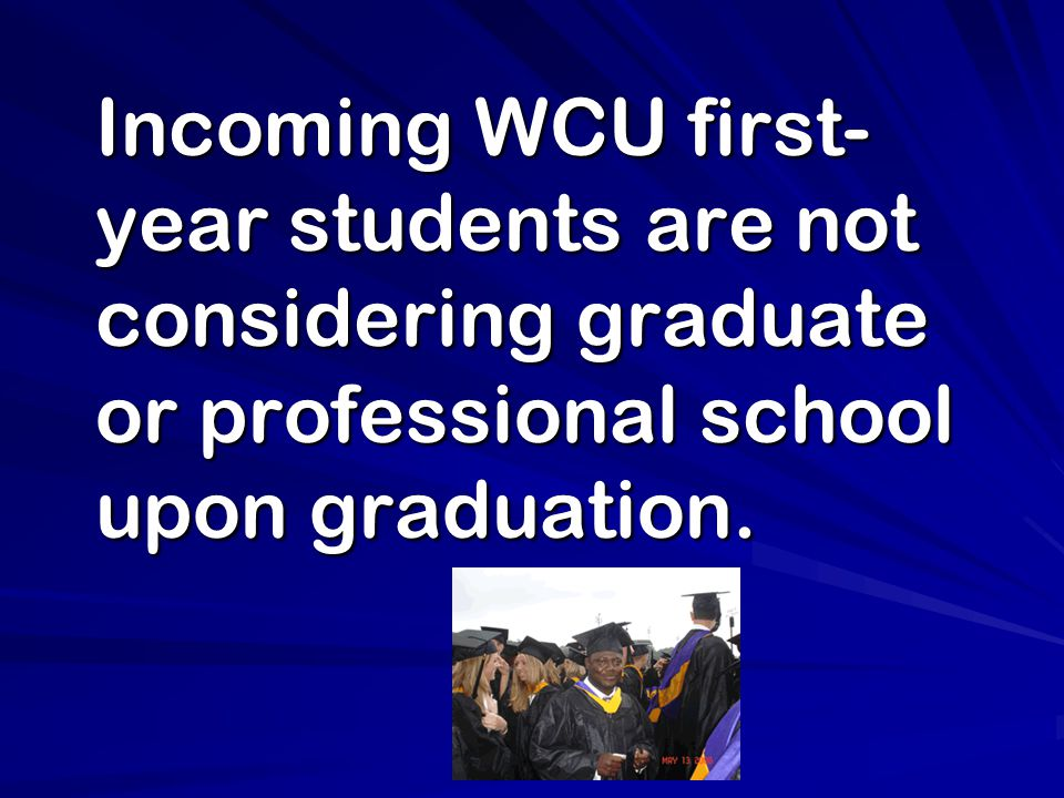 Incoming WCU first- year students are not considering graduate or professional school upon graduation.
