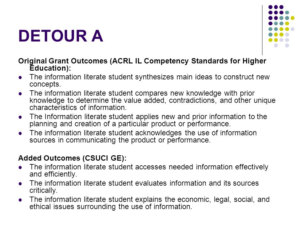 DETOUR A Original Grant Outcomes (ACRL IL Competency Standards for Higher Education): The information literate student synthesizes main ideas to construct new concepts.