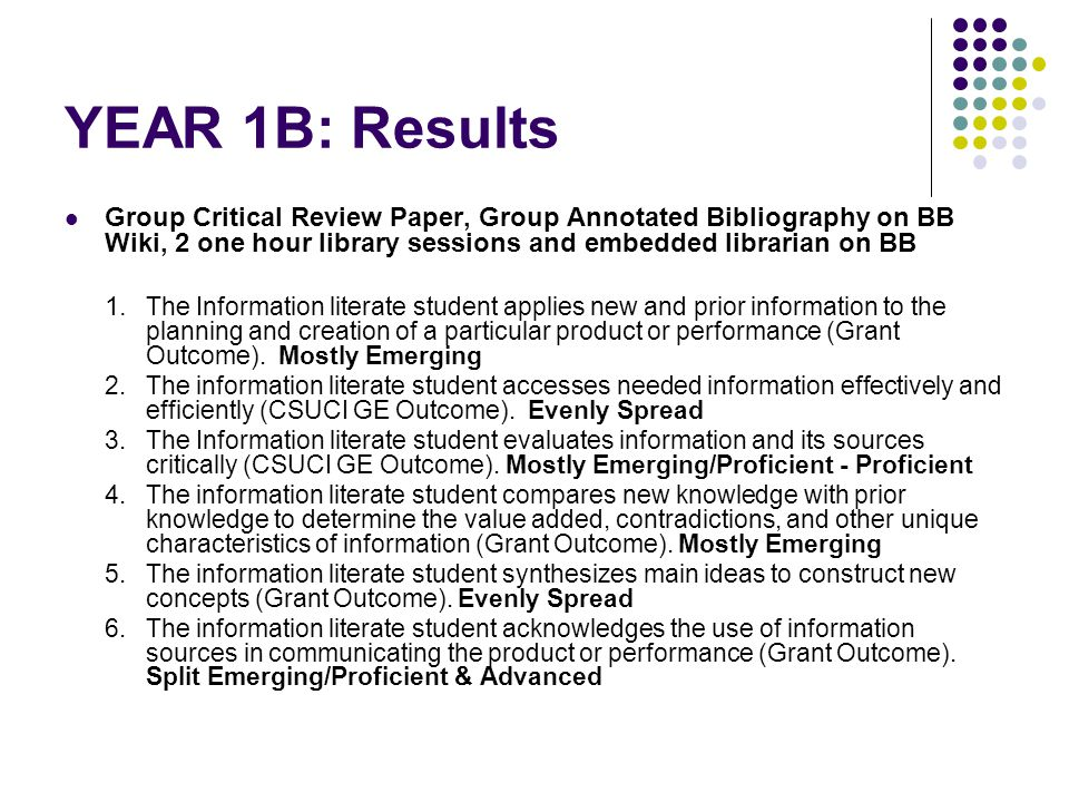 YEAR 1B: Results Group Critical Review Paper, Group Annotated Bibliography on BB Wiki, 2 one hour library sessions and embedded librarian on BB 1.