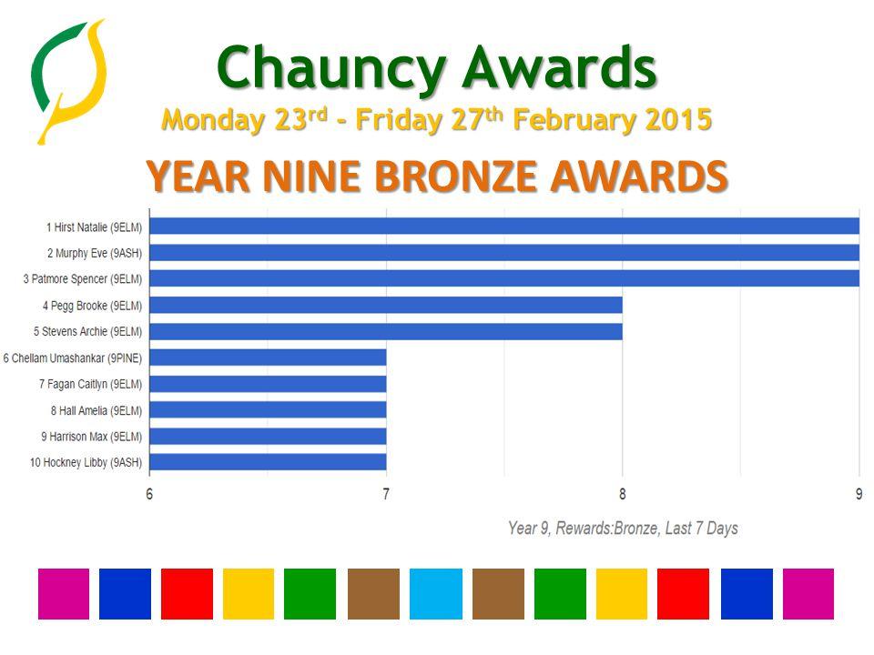 Chauncy Awards Monday 23 rd - Friday 27 th February 2015 YEAR NINE BRONZE AWARDS