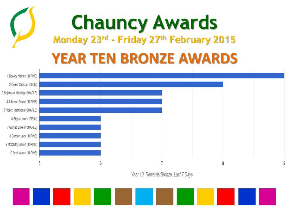 Chauncy Awards Monday 23 rd - Friday 27 th February 2015 YEAR TEN BRONZE AWARDS