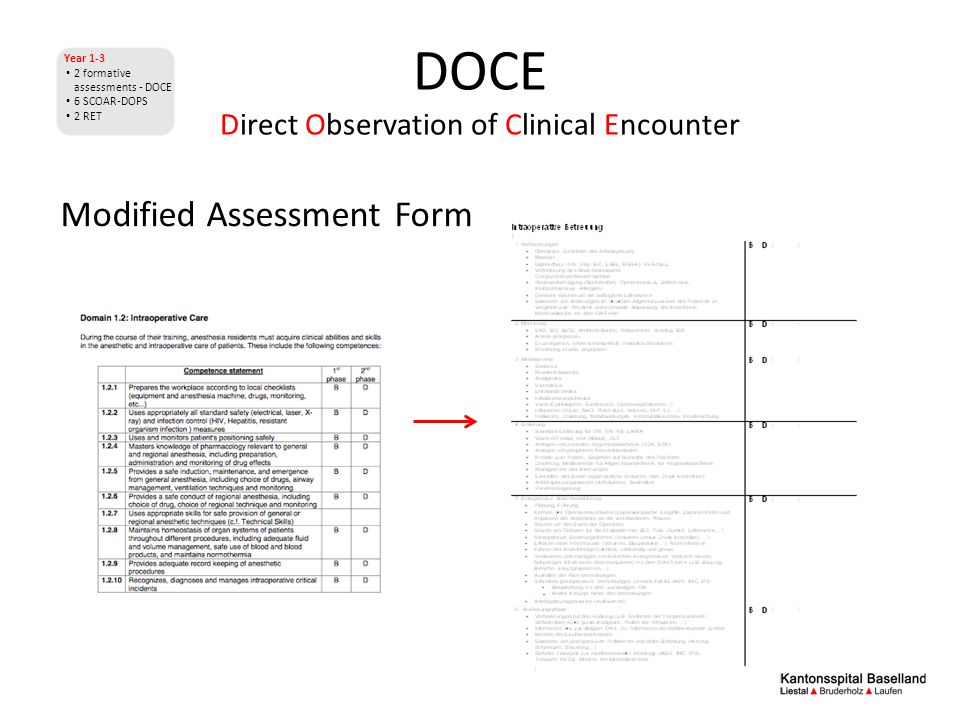 DOCE Direct Observation of Clinical Encounter Year 1-3 2 formative assessments - DOCE 6 SCOAR-DOPS 2 RET Modified Assessment Form
