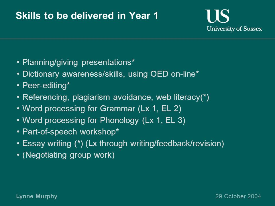 Lynne Murphy29 October 2004 Skills to be delivered in Year 1 Planning/giving presentations* Dictionary awareness/skills, using OED on-line* Peer-editing* Referencing, plagiarism avoidance, web literacy(*) Word processing for Grammar (Lx 1, EL 2) Word processing for Phonology (Lx 1, EL 3) Part-of-speech workshop* Essay writing (*) (Lx through writing/feedback/revision) (Negotiating group work)