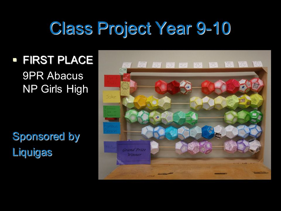 Class Project Year 9-10  FIRST PLACE 9PR Abacus NP Girls High Sponsored by Liquigas