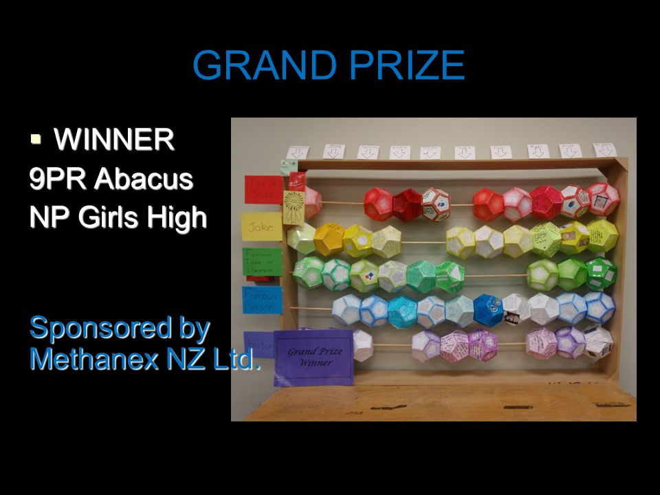 GRAND PRIZE  WINNER 9PR Abacus NP Girls High Sponsored by Methanex NZ Ltd.