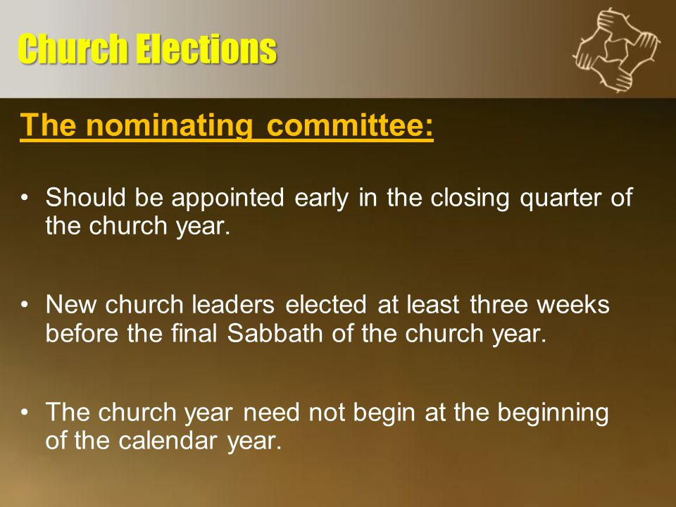 The nominating committee: The size is determined by the local church.