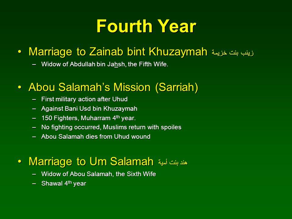 Fourth Year Marriage to Zainab bint Khuzaymah زينب بنت خزيمةMarriage to Zainab bint Khuzaymah زينب بنت خزيمة –Widow of Abdullah bin Jahsh, the Fifth W