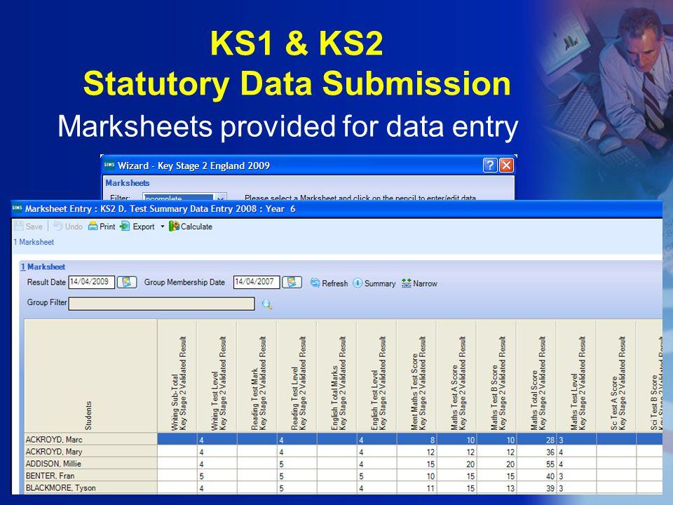 Marksheets provided for data entry KS1 & KS2 Statutory Data Submission