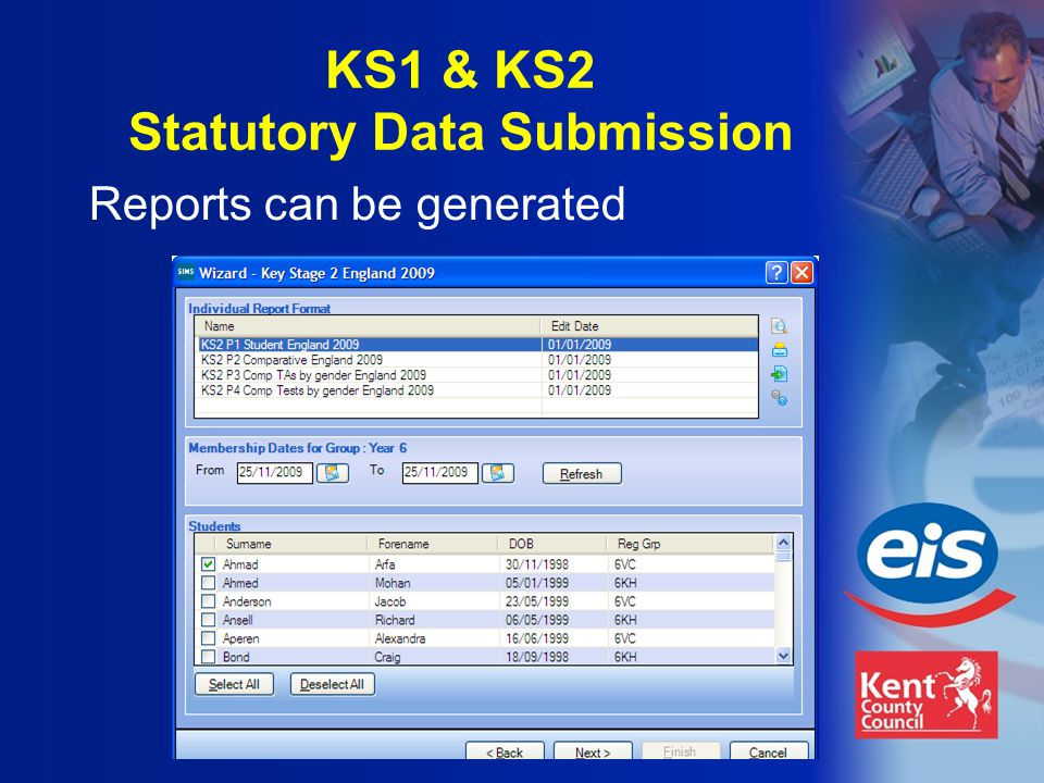 Reports can be generated KS1 & KS2 Statutory Data Submission