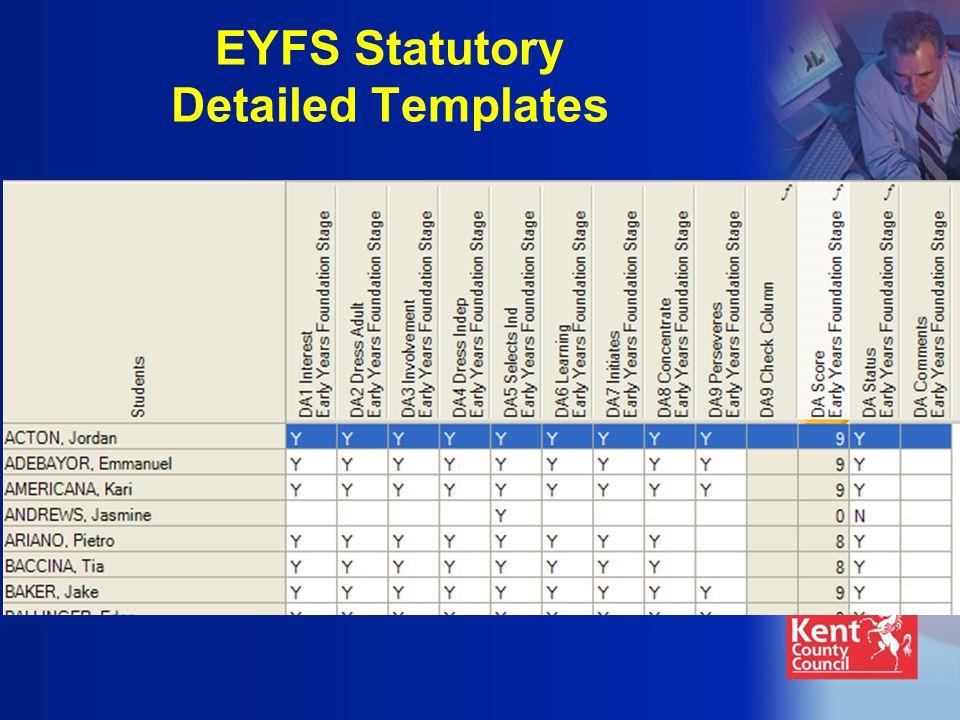 EYFS Statutory Detailed Templates